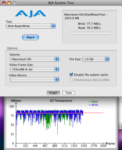 Crucial M550 als mSATA. Testfile wieder 1 GB => Lesen und Schreiben nun ca 77 MB/s, mehr kann praktisch der verbaute Controller nicht Schaufeln, der hat eine Bruttodatenrate von 100 MB/s und AJA misst die Nettorate.